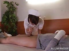 Naughty nurse sucks a patient's cock and rides it
