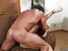 Busty ebony enjoying interracial anal cock ride