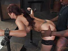 threesome, bdsm, interracial, stockings, face fucking, brunette milf, big black cock, fucked from behind, device bondage, real time bondage, syren de mer, matt williams, jack hammerx
