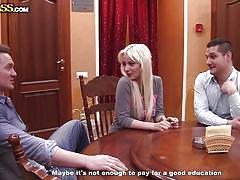 Amateur blonde fucks two guys for money