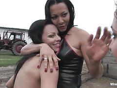 bdsm, mistress, outdoor, tied, lesbian threesome, milfs, pussy licking, sex slave, ropes, wired pussy, kink, lea lexis, sandra romain, jenna lovely, claudia jamsson