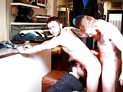 Three gay dudes having a hardcore party