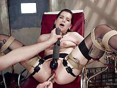 bdsm, vibrator, gyno, brunette babe, electric wand, rope bondage, metal dildo, slave training, the training of o, kink, bill bailey, kasey warner