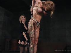 tattoo, bdsm, busty, suspended, nipple pinching, blonde milfs, clothespins, rope bondage, fishnet pantyhose, real time bondage, cherry torn, rain degrey