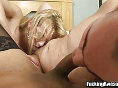 Guy getting threesome with beautiful tranny chics