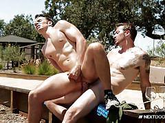 gay riding cock, muscled gays, tattooed, condom, jerking cock, outdoor anal, fuck from behind, next door buddies, next door world, mark long, addison graham