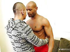 Horny hunk and muscled ebony dude making love