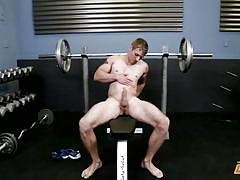 gay, outdoor, masturbation, solo, tattoo, rubbing, interview, workout, blonde, next door male, next door world, robert longwood