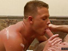 gay ass licking, gay deepthroat, bald gay, tattoo, kissing, in water, bathtub, icon male, adam russo, brandon wilde