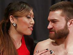 Bearded bisexual guy fucks sexy ladyboy's mouth and throat