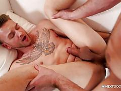 Gay neighbor fucks tattooed twink's tight ass