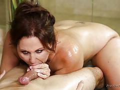 tattoo, handjob, blowjob, big boobs, rubbing, nuru massage, ball sucking, brunette milf, nuru massage, nuru network, julia ann, damon dice