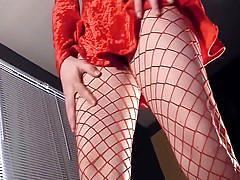 erotic, lingerie videos.com, fishnets, skirt, stilleto, shaved pussy, heel fucking, masturbation, solo, close up