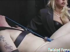 Evil dommes torture their slave's hard cocks