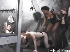 Evil dommes torture their slave's hard cocks
