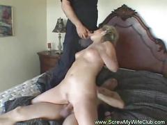 Hubby shares her super horny blonde wife