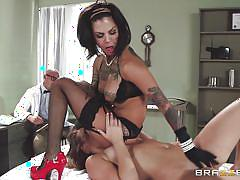 Two bitches pleasing a horny doctor