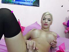 blonde, big ass, babe, stockings, busty, fingering, riding cock, squeezing tits, titterific, immoral live, porno dan, bibi noel