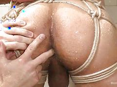 bdsm, ass fingering, shower, tied up, gay, bearded guy, ropes, shibari, men on edge, kink men, adam ramzi