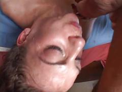 Chick with great tits and nice face fucked by two guys in bedroom