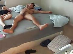 Wild girl hammered off the bed