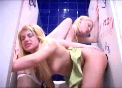 Dirty girls in lesbian & gloryhole action