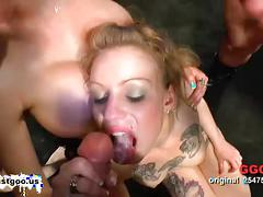 Two hardcore blondes in a hardcore orgy