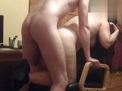 Hidden cam - unaware wife fucked on office chair
