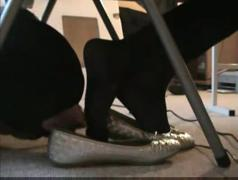 My sister allows me to lick her sweaty feet under her desk