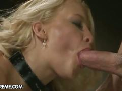 bdsm, blonde, blowjob, cumshot, hardcore, pornstar, pussy, stockings, toys, bondage, cum in mouth, doggy style, facial, fishnets, missionary, platinum blonde, shaved pussy, slave, sloppy blowjob, vibrator