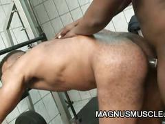 Enormous black cock stuffing latin hunk