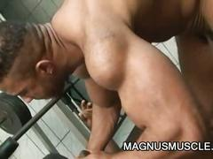 Enormous black cock stuffing latin hunk