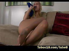 teen, taboo18.com, blonde, pov, natural tits, step sister, tattooed, heels, stockings, footjob, handjob, cum on feet