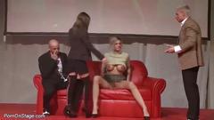 cumshot, public, threesome,