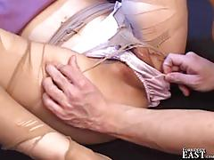 asian, forbiddeneast.com, japanese, heels, ripped panties, blindfold, heel in pussy, fingering, licking pussy, natural tits