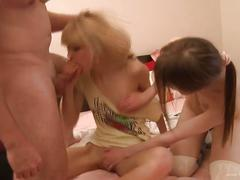 Cute teens fucked at once