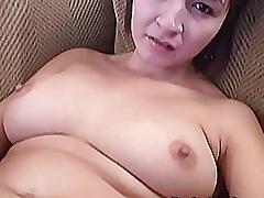 Busty vanessa jerks her pussy using dildo