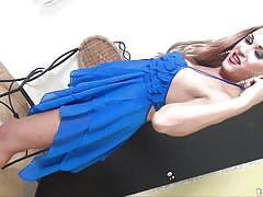 Tranny strips out of her blue dress