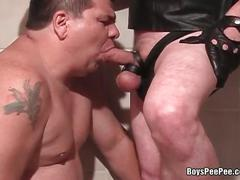 Fat and mature gay guy,sucking big cock in