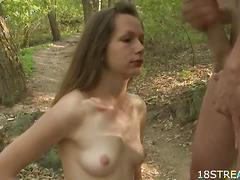 Outdoor sex with amateur brunette beauty babe.
