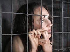 milf, bdsm, brunette, bondage cage, cell, real time bondage, ashley lane