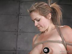 Blonde slave has her nipples pumped