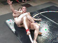 Naked & oiled men wrestling hard