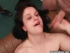 Gang-bang gals share dicks