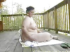Bbw works her fat pussy on balcony 1