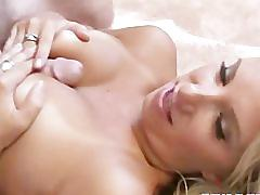 Hot busty blonde gives a good blowjob