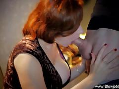 Redhead milf stuffs her mouth with hard cock