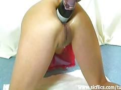 Extreme anal champagne bottle fucked housewife