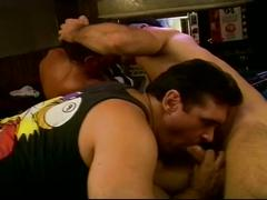 Luscious muscled hunks threeway deep anal whacking