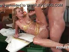 Wild whore sucking dick gets pissed in her wet mouth